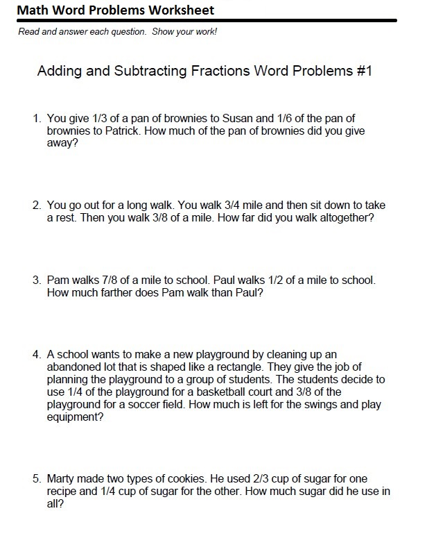 Adding and Subtracting Fractions Printable