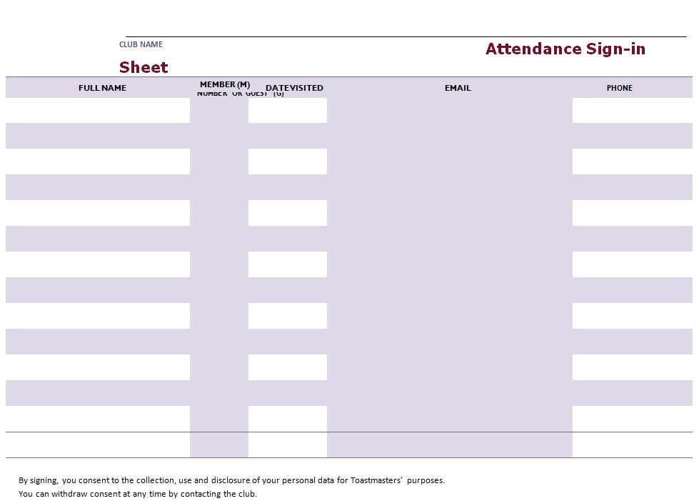 Attendance Sign In Sheet Sample
