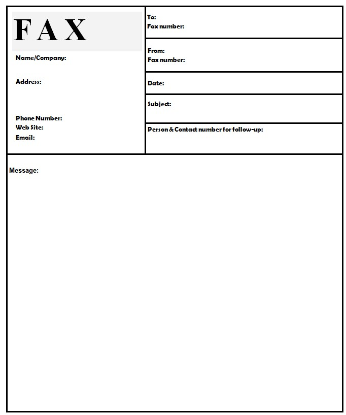 Basic Followup Fax Template Word Format