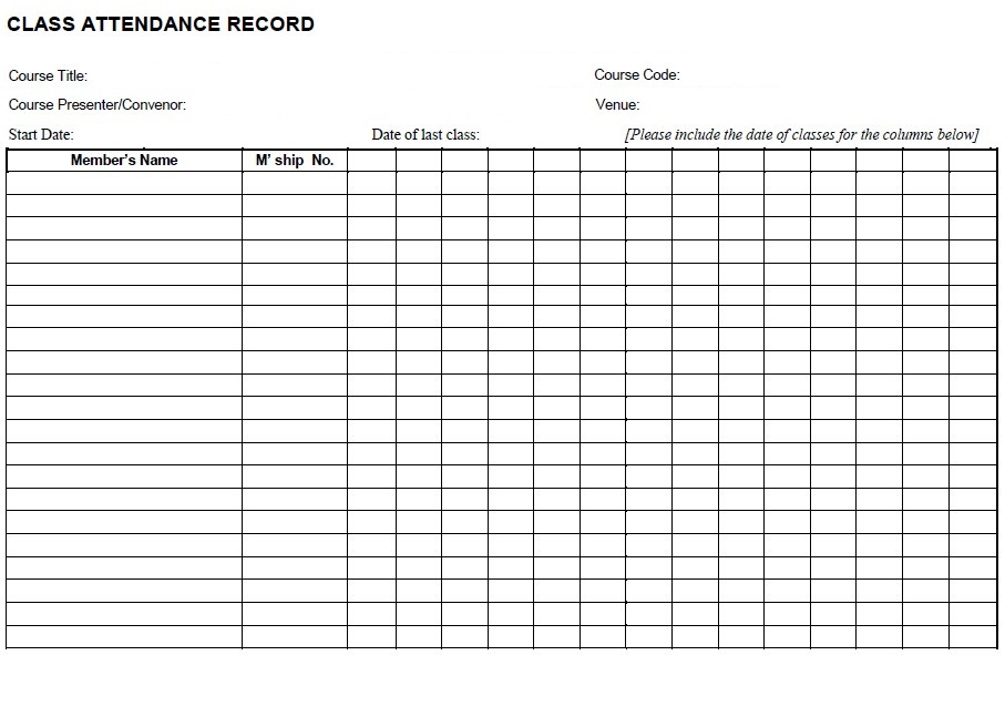 Class Attendance Sheet Sample