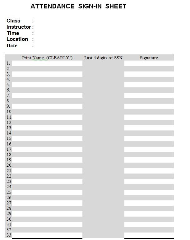 Classroom Attendance Sign In Sheet