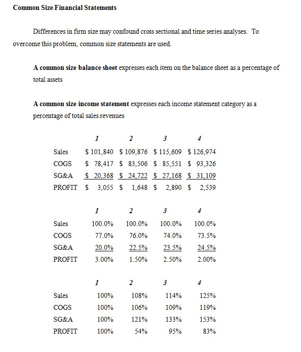 Common Size Balance Sheet Template 1