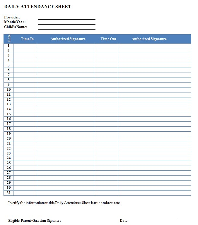 Daily Attendance Sign In Sheet Template