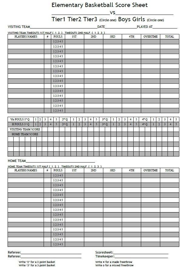 Elementary Basketball Score Sheet