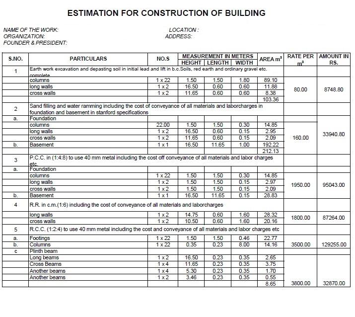Estimation for Construction Building