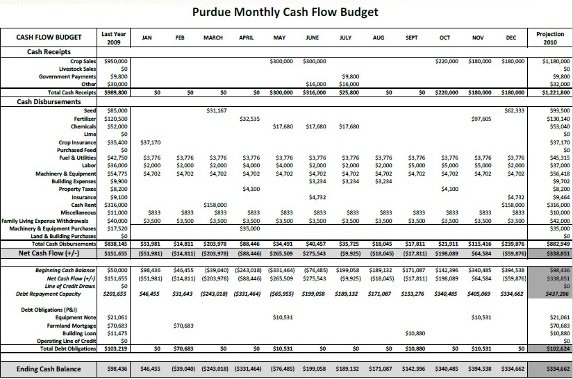 Farm Accounting Spreadsheet PDF Template 1
