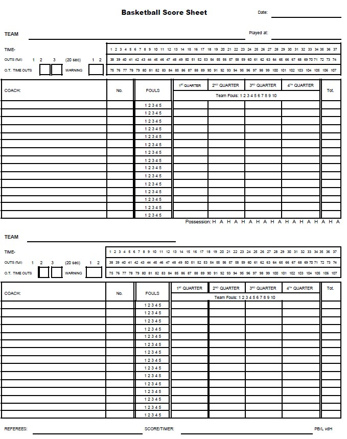 Generic Basketball Score Sheet