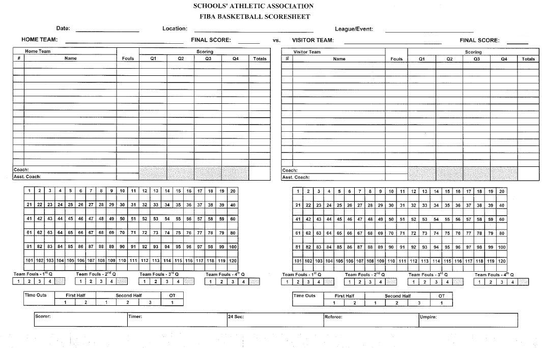 High School Basketball Score Sheet Template