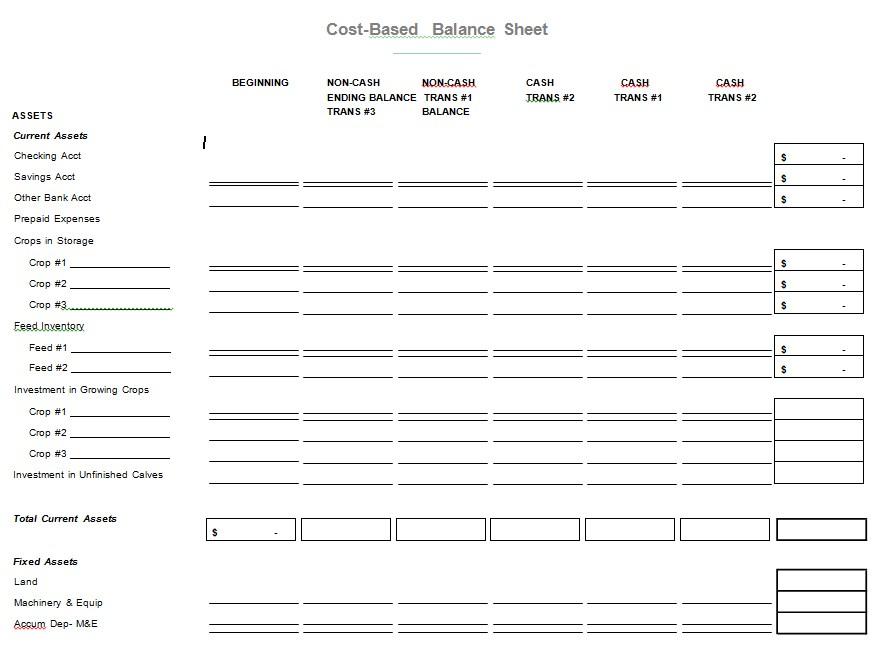 Printable Cash Balance Sheet