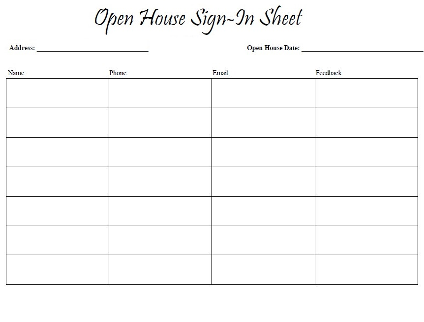 Printable Open House Sign In Sheet Template