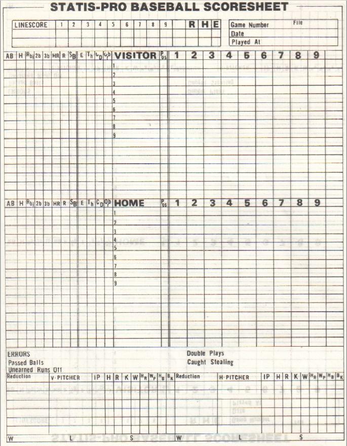 Pro Baseball Score Sheet