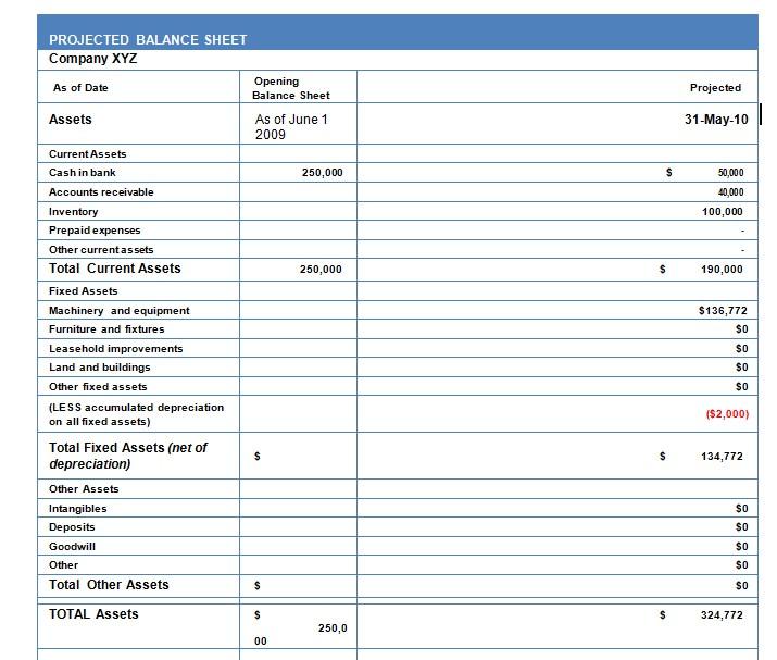Projected Balance Sheet Format