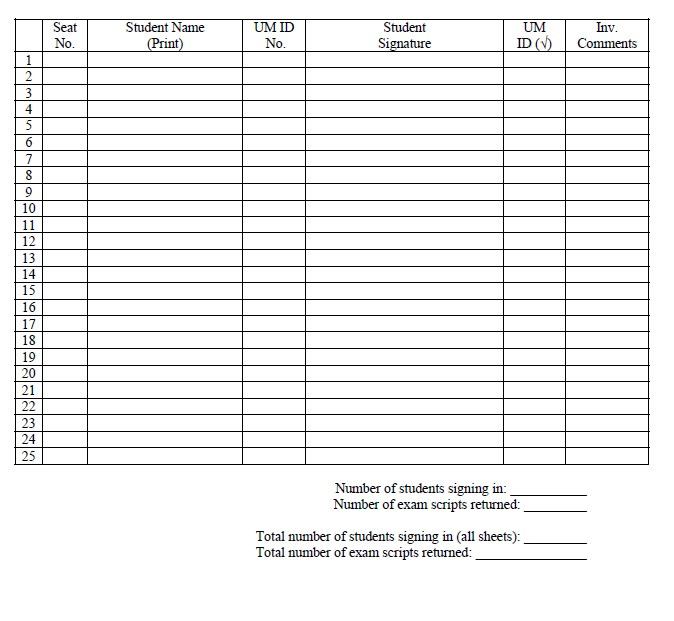 Student Attendance Sign In Sheet