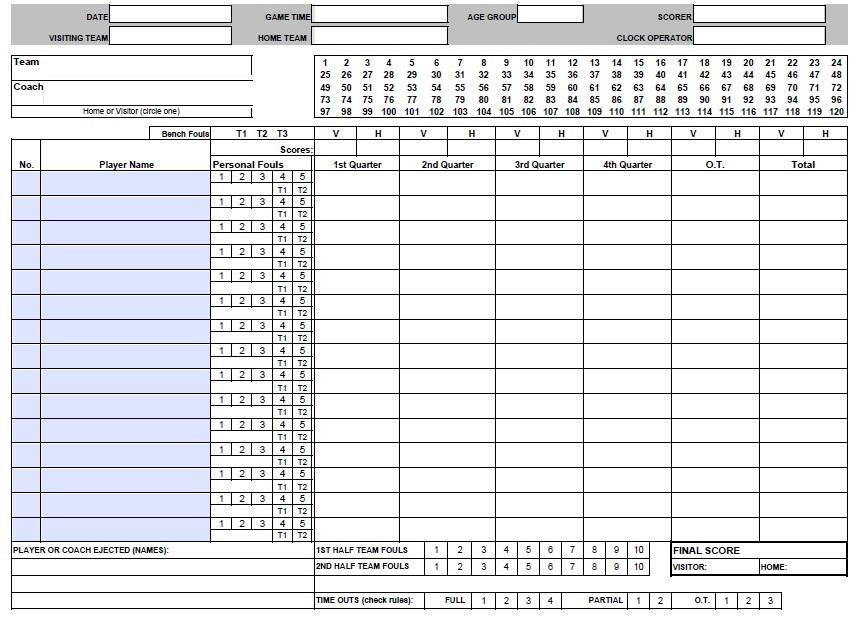 Tournament Basketball Score Sheet