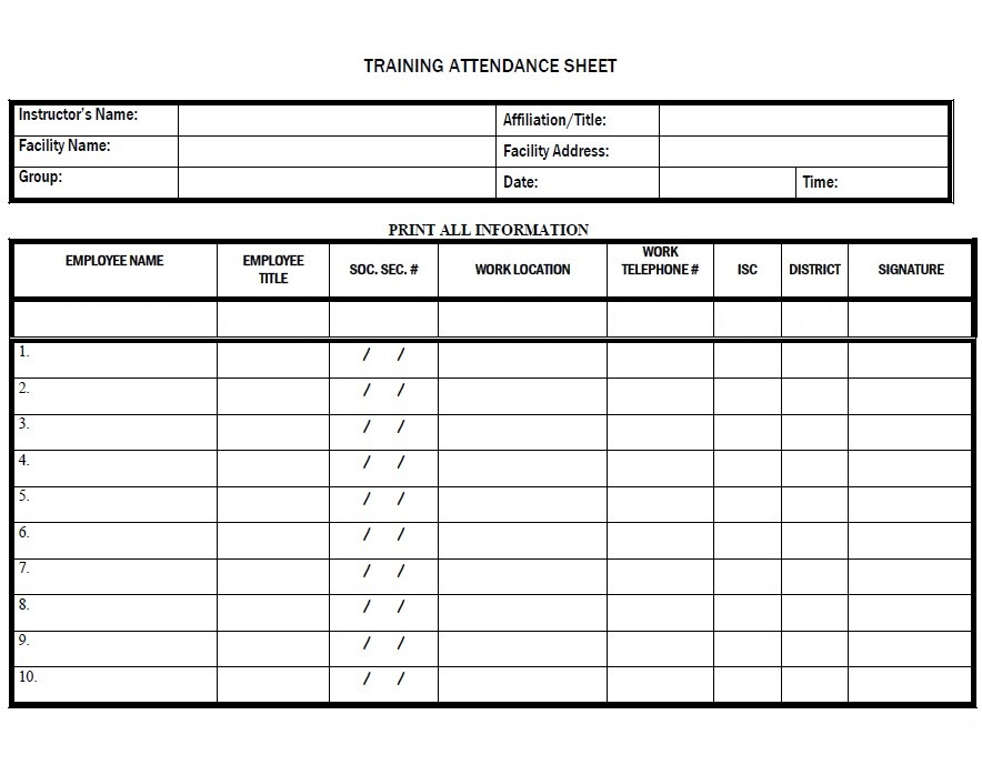 Training Attendance Sheet Template