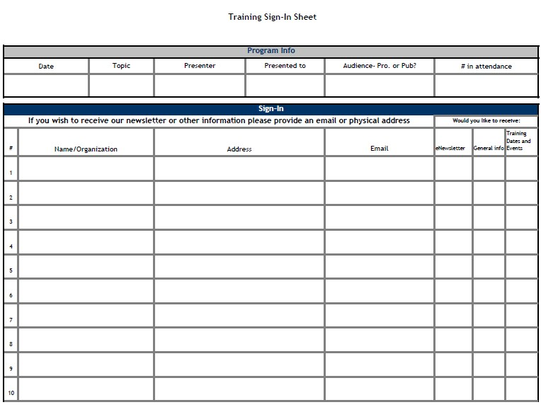 Training Attendance Sign In Sheet Template