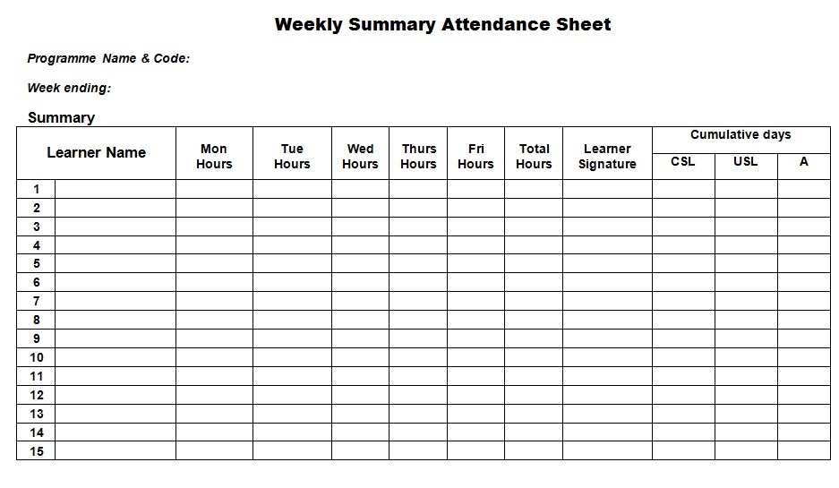 Weekly Attendance Sign In Sheet Template
