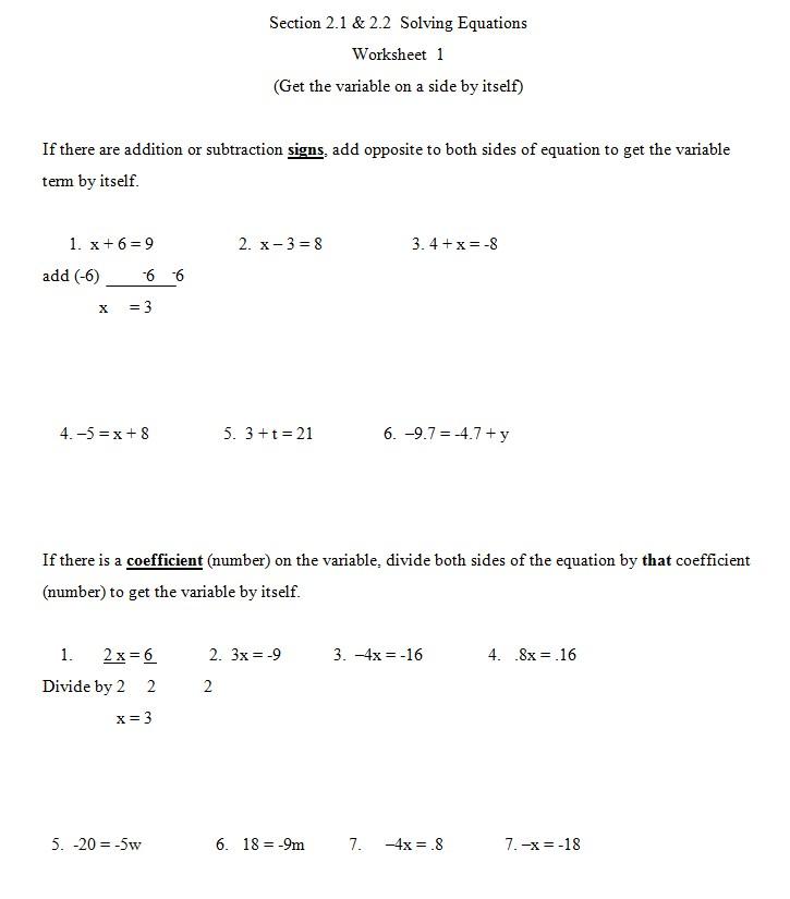Algebra Worksheet Template 1