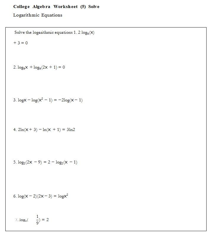 Algebra Worksheet Template