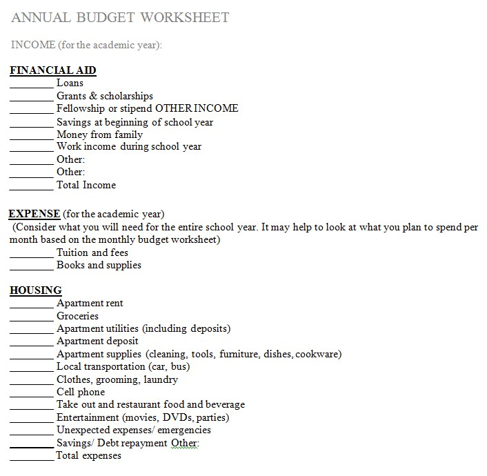 Annual Budget WorkSheet Template