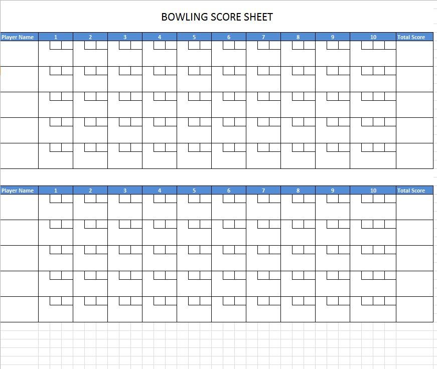 Blank Bowling Score Sheet