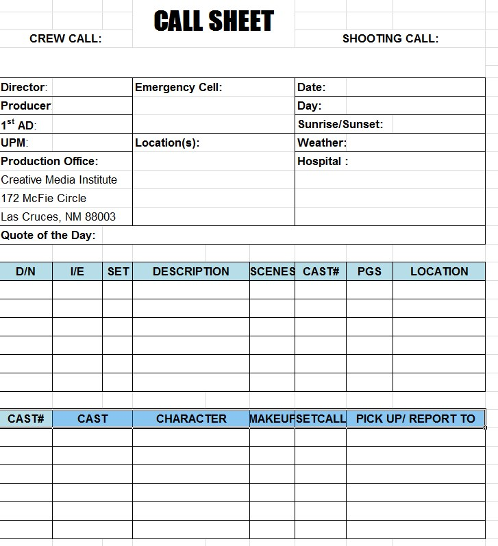 Blank Call Sheet Template Excel
