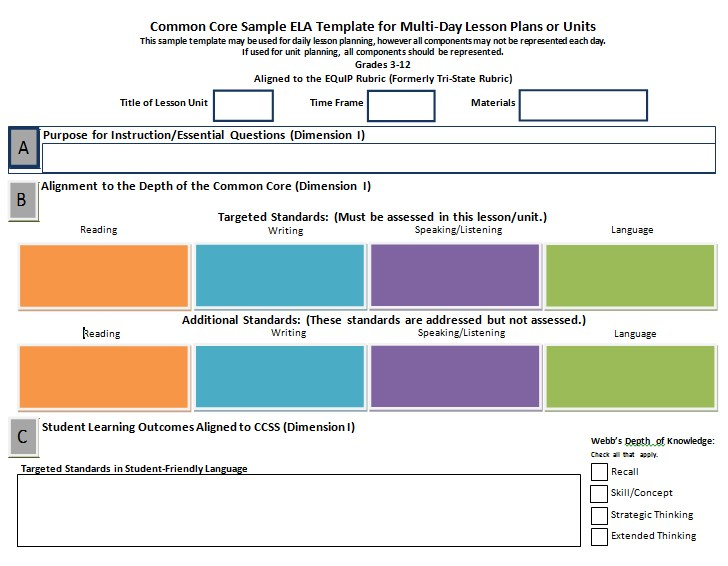 Blank Common Core Sheet Template 1