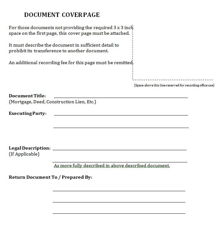 Blank Cover Sheet PDF Format