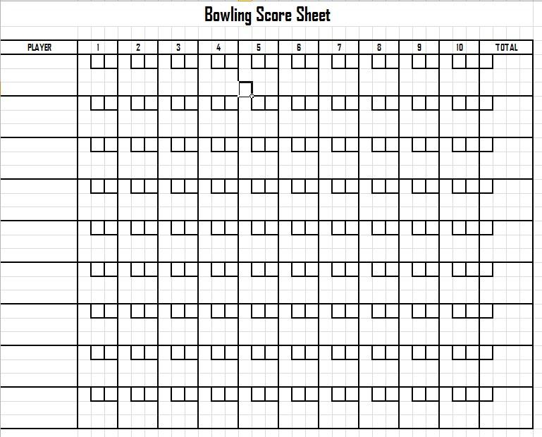 Bowling League Score Sheet Template