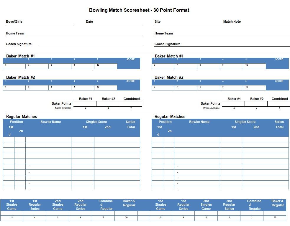 Bowling Match Score Sheet