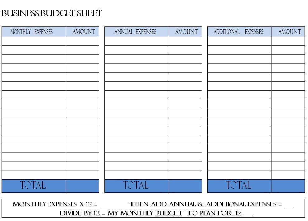 Business Budget Sheet Sample
