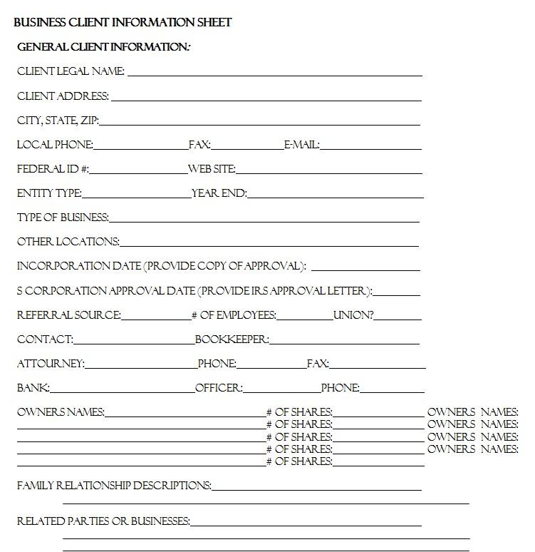 Business Client Information Sheet