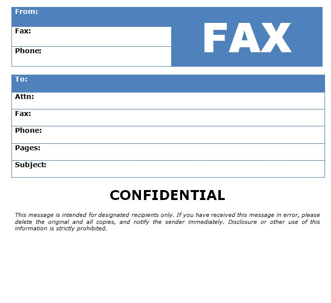 Business Confidential Fax Template Word