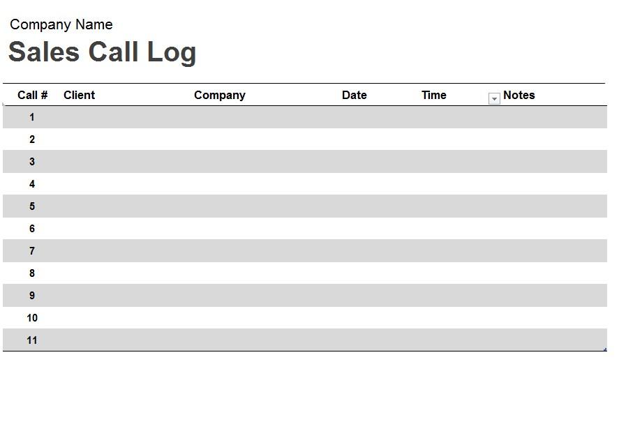 Call Log Spreadsheet