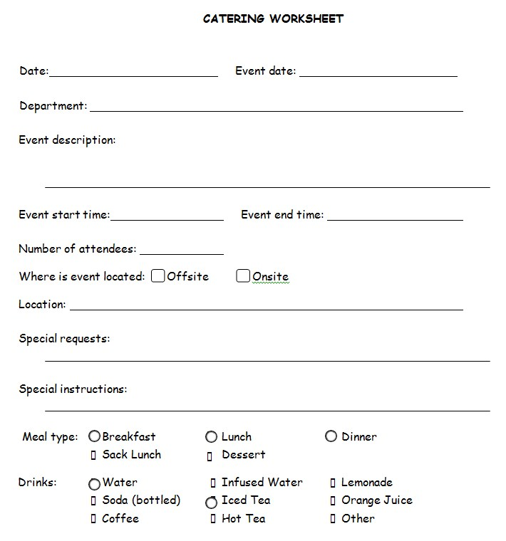 Catering Planning Worksheet Template