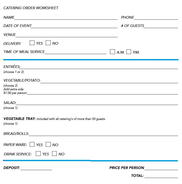 Catering Worksheet Format