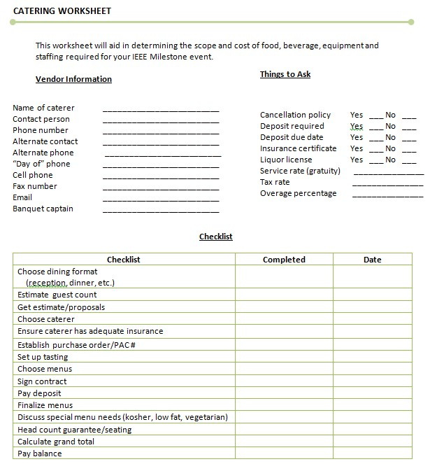 Catering Worksheet Template Example