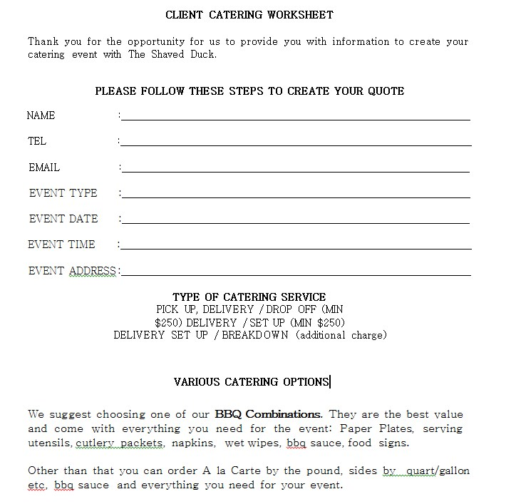 Client Catering Worksheet