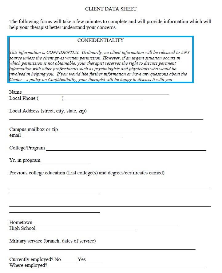 Client Data Sheet Template