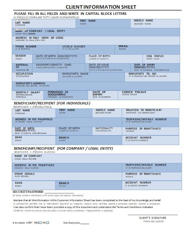 Client Information Sheet Format