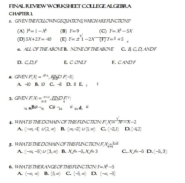 College Algebra Worksheets Printable