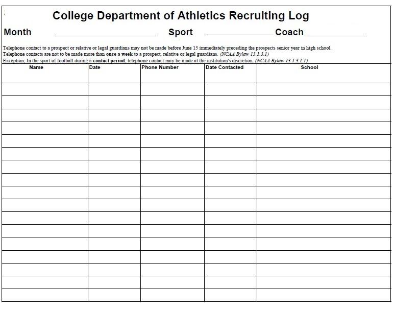 College Athletics Call Log Sheet Template