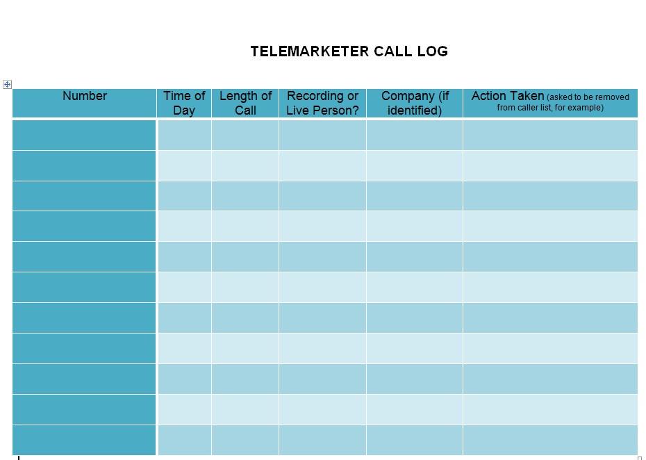 Doc Format Telemarket Call Log Template