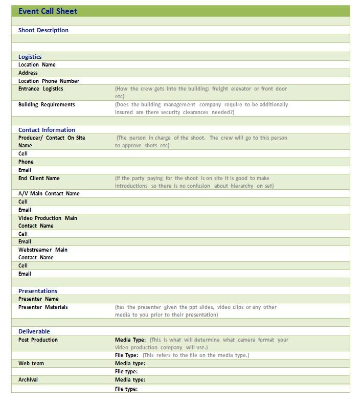 Event Call Sheet