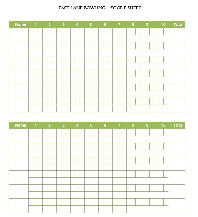 Fast Lane Bowling Score Sheet