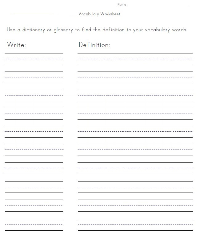 Fill in the Blank Vocabulary Worksheet Example