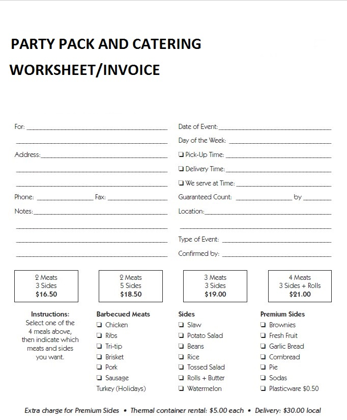 Formal Catering Worksheet Template