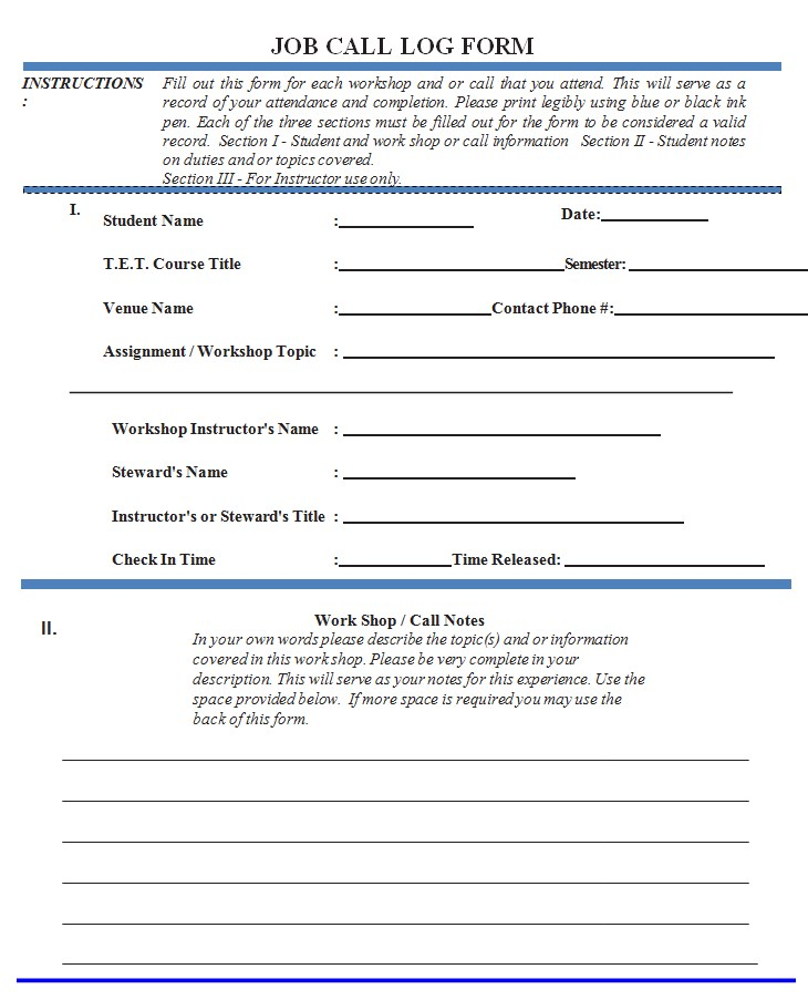 Job Call Log Form Template.