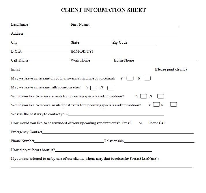 Medical Client Information Sheet