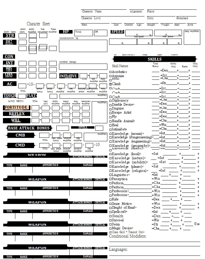 Pathfinder Character Sheet PDF Template